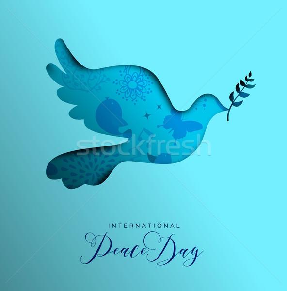 Wereld vrede dag kaart papier gesneden Stockfoto © cienpies