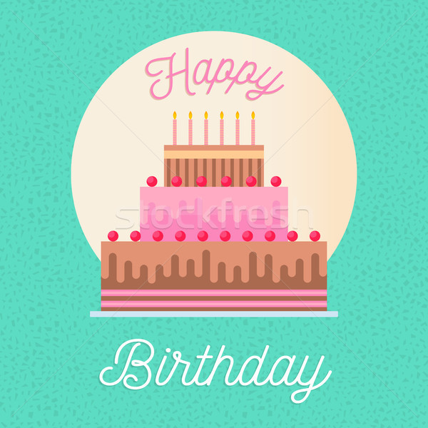 Happy birthday greeting card with party cake Stock photo © cienpies