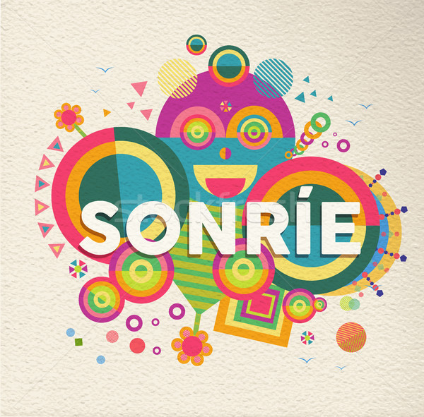Gülümseme motivasyon metin aktarmak dizayn İspanyolca Stok fotoğraf © cienpies