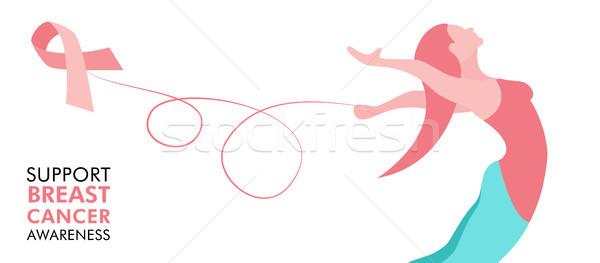 Mellrák törődés rózsaszín szalag nő háló szalag Stock fotó © cienpies