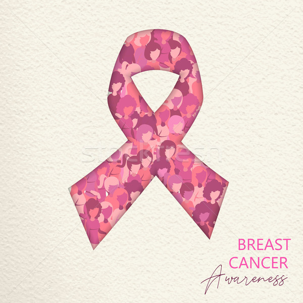Breast Cancer Care cutout pink ribbon for help Stock photo © cienpies