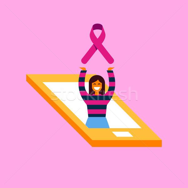 ストックフォト: 乳癌 · ケア · 電話 · アプリ · 認知度 · 実例