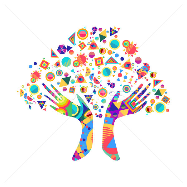 Insan eli ağaç kültür çeşitlilik renkli insan Stok fotoğraf © cienpies