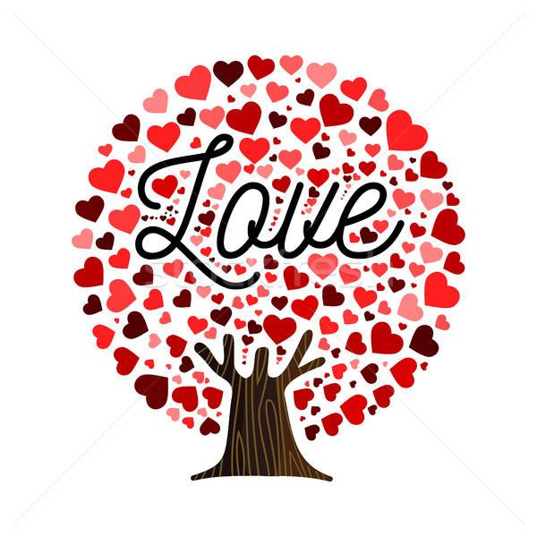 Amor forma de coração árvore ilustração arte folhas Foto stock © cienpies
