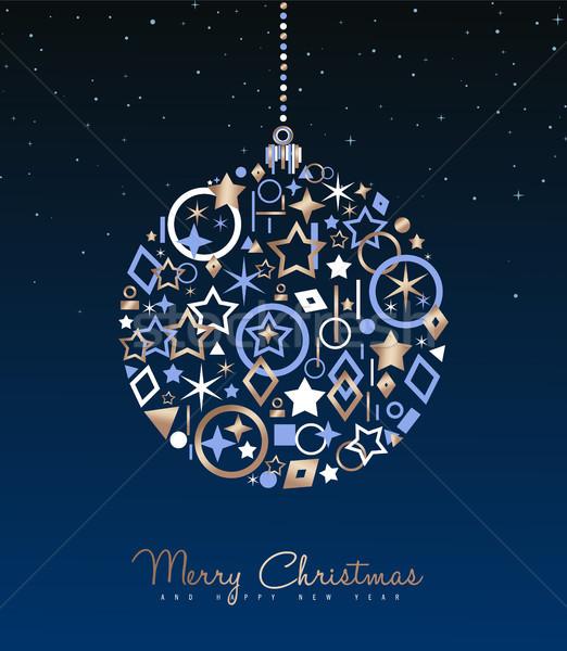 Navidad año nuevo cobre pelota decoración tarjeta Foto stock © cienpies