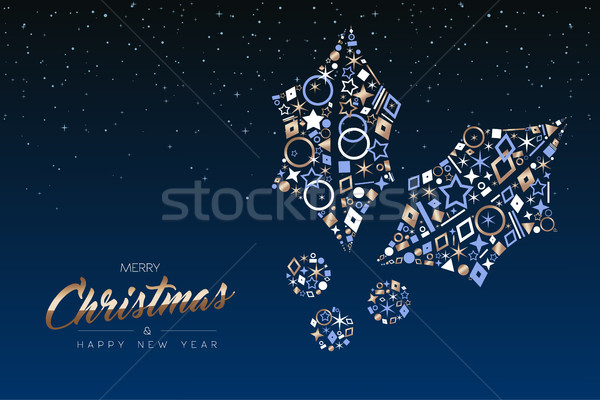 Christmas card of elegant copper icon holly leaf Stock photo © cienpies