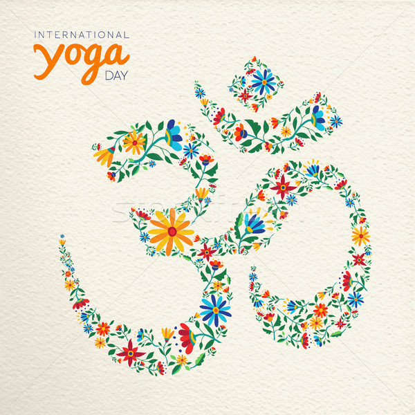 Yoga day card of om india spiritual symbol Stock photo © cienpies