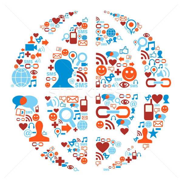 World symbol in social media network icons Stock photo © cienpies