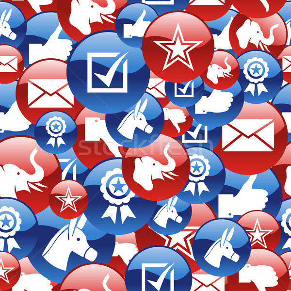 USA elections glossy pin badge icons pattern Stock photo © cienpies
