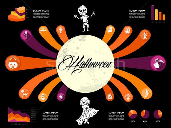 Halloween infográficos diagrama assustador ícones modelo Foto stock © cienpies
