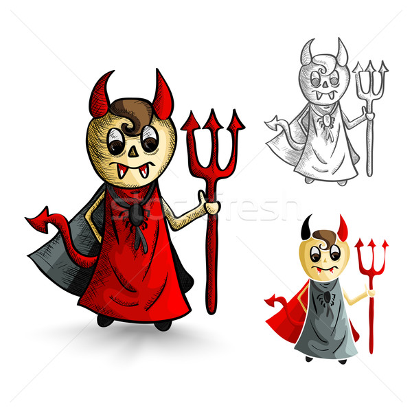 Halloween monsters isolated sketch style devils set. Stock photo © cienpies