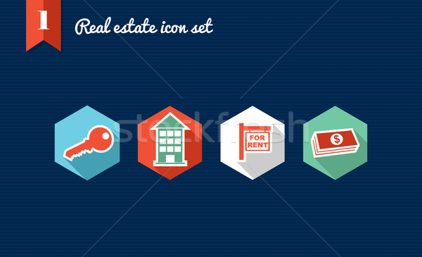 Real estate flat icons set collection Stock photo © cienpies