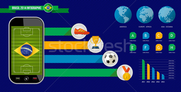 Brazil soccer championship phone infographic Stock photo © cienpies