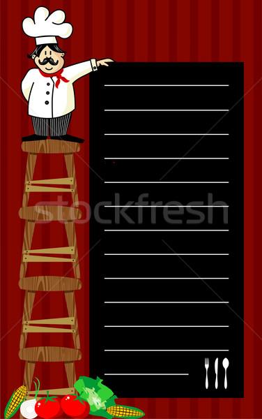 Chef divertente parecchi legno lavagna Foto d'archivio © cienpies