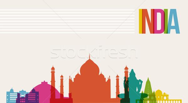 Travel India destination landmarks skyline background Stock photo © cienpies