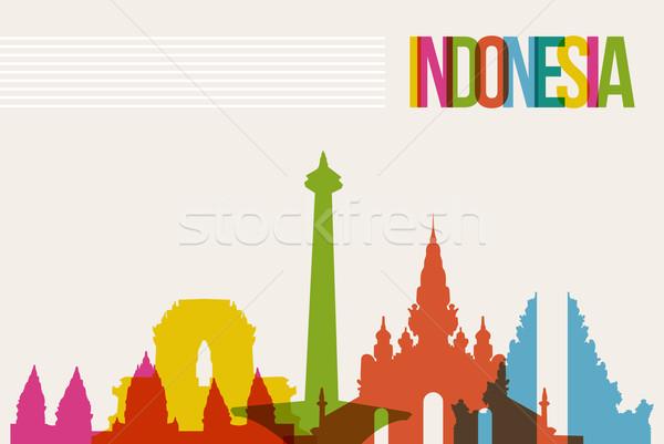 Travel Indonesia destination landmarks skyline background Stock photo © cienpies