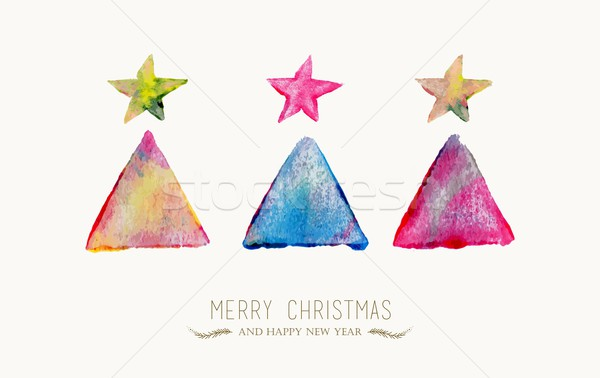 Merry Christmas pine tree watercolor greeting card Stock photo © cienpies