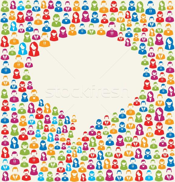 Foto stock: Usuário · balão · de · fala · colorido · ícones · textura