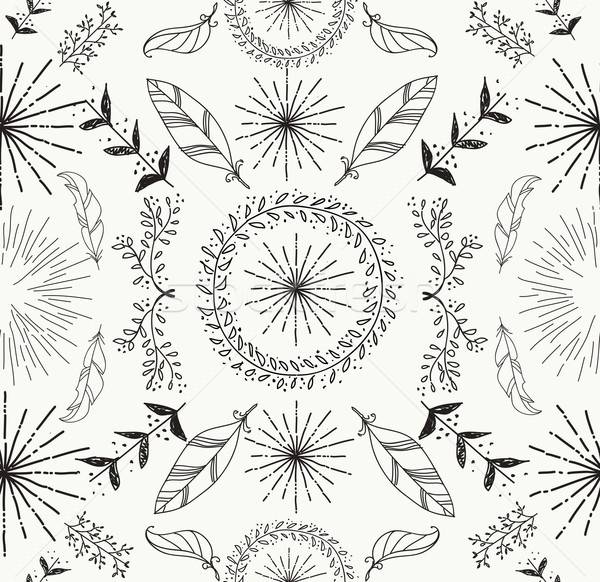 Abstract feather and floral seamless pattern Stock photo © cienpies