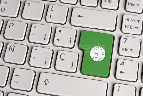 Global green concept, world keyboard key. Stock photo © cienpies