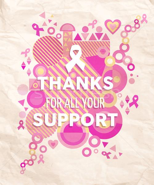 Câncer de mama consciência geometria apoiar cartaz obrigado Foto stock © cienpies