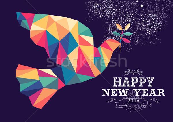 Szczęśliwego nowego roku 2016 dove trójkąt kolor Zdjęcia stock © cienpies