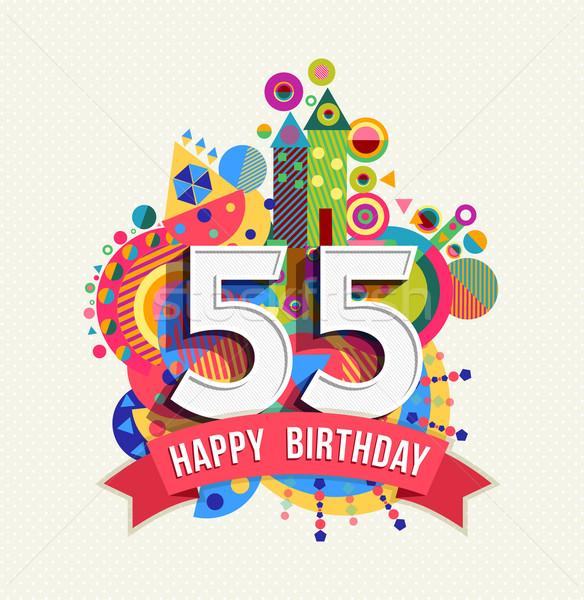 Сток-фото: С · Днем · Рождения · год · плакат · цвета · пятьдесят