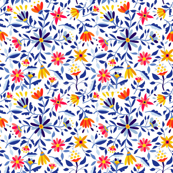Retro flower pattern in vibrant colors for spring Stock photo © cienpies