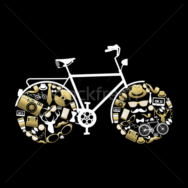 Bike silhouette with hipster icons in gold color Stock photo © cienpies