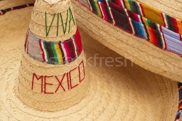 Traditional mexican sombrero straw hat close up Stock photo © cienpies