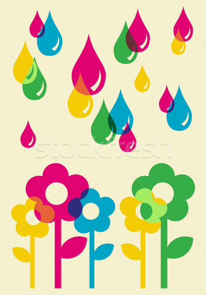 Drops watering flowers background Stock photo © cienpies