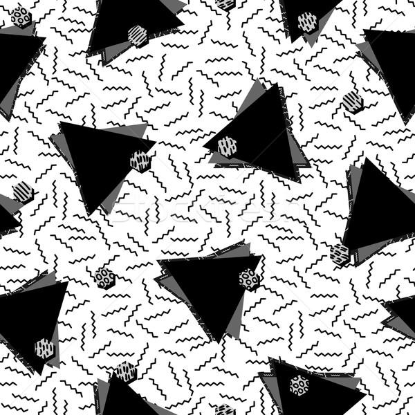 80s driehoek zwart wit vintage retro Stockfoto © cienpies