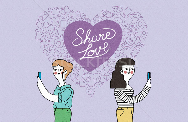 Women couple on phone internet love illustration Stock photo © cienpies