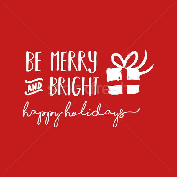 Merry Christmas holiday lettering illustration Stock photo © cienpies