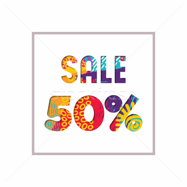 Sale 50% off color quote for business discount Stock photo © cienpies