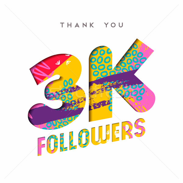 3k social media follower number thank you template Stock photo © cienpies