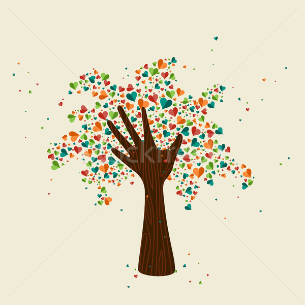 Hand Tree Love Symbol For Community Help Vector Illustration