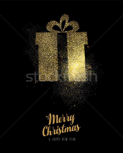 Christmas and new year gold glitter gift box card Stock photo © cienpies