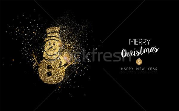 Noël nouvelle année or glitter bonhomme de neige carte Photo stock © cienpies