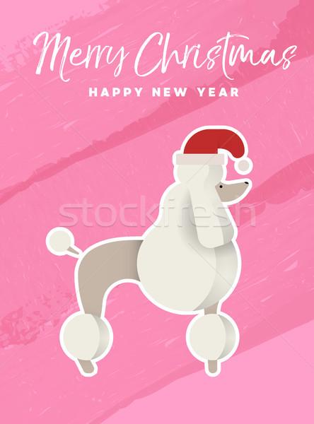 Natale capodanno vacanze barboncino cane carta Foto d'archivio © cienpies