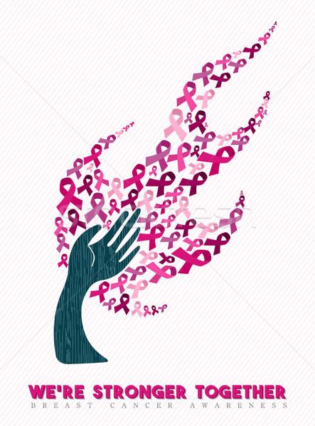 Borstkanker bewustzijn hand boom kunst Stockfoto © cienpies