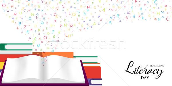 Foto stock: Mundo · alfabetização · dia · cartão · escolas · livros
