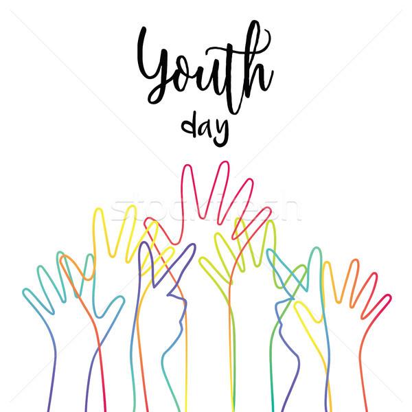 Fiatalság nap sokoldalú tini kezek üdvözlőlap Stock fotó © cienpies