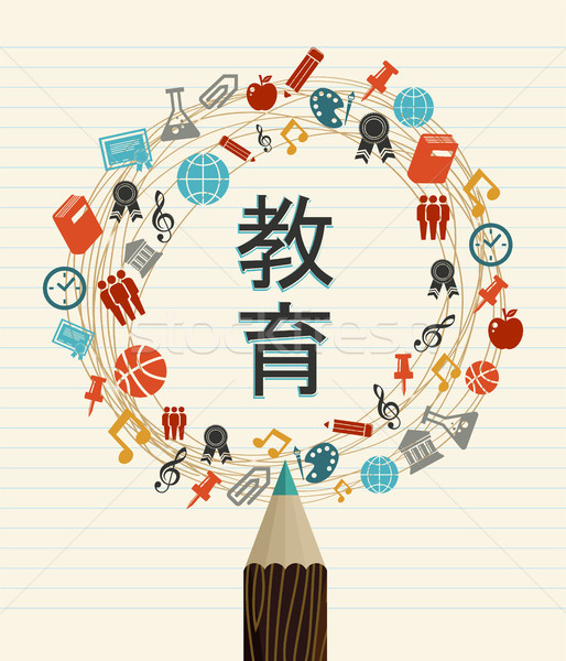 Education school quote in japanese language Stock photo © cienpies