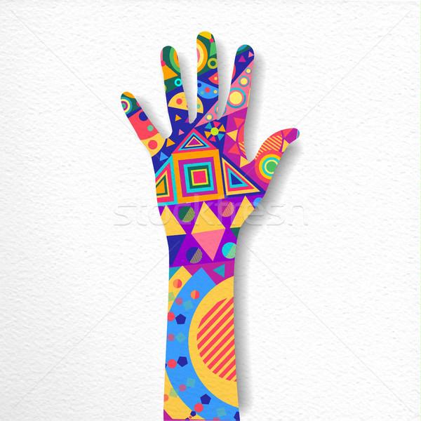 Papier gesneden menselijke hand kunst illustratie kleurrijk Stockfoto © cienpies