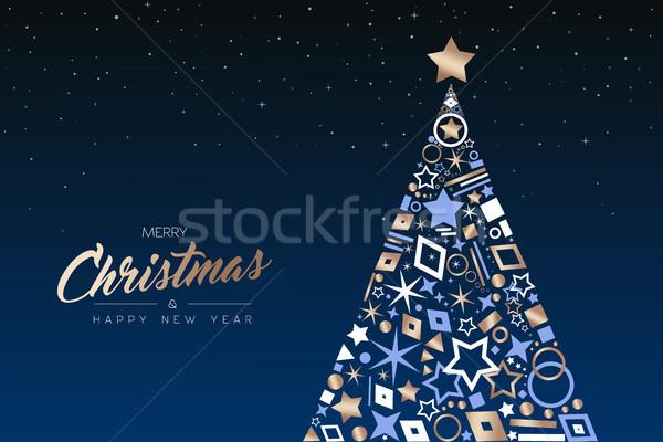 Christmas nieuwjaar boom koper iconen vrolijk Stockfoto © cienpies