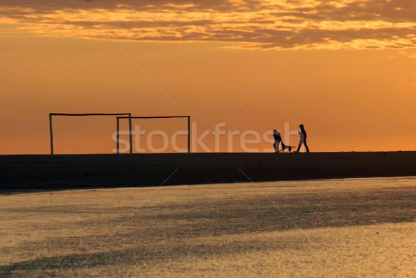 çift çalışma şafak plaj güzel altın Stok fotoğraf © cienpies