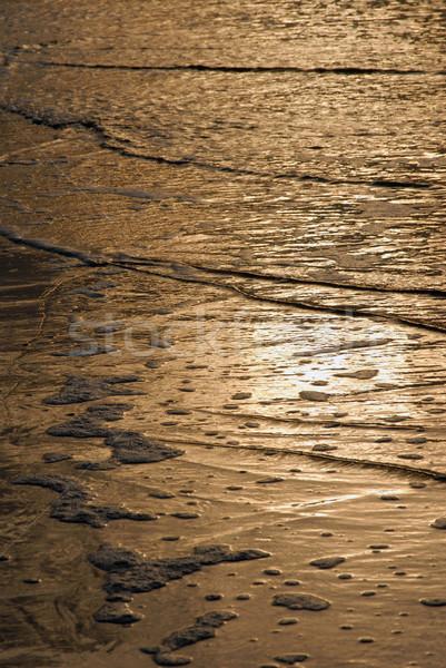 Altın dalgalar doku plaj ışık akşam karanlığı Stok fotoğraf © cienpies