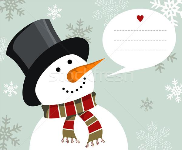 Pupazzo di neve illustrazione indossare Hat sciarpa Foto d'archivio © cienpies