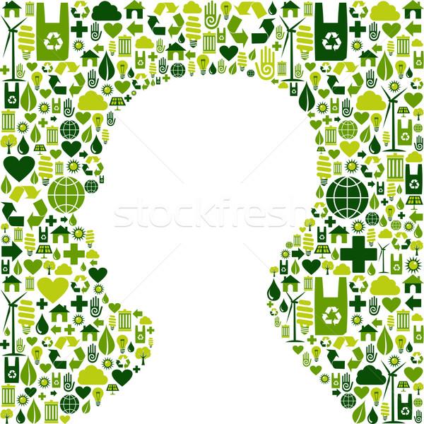 Stockfoto: Menselijke · hoofd · groene · iconen · silhouet